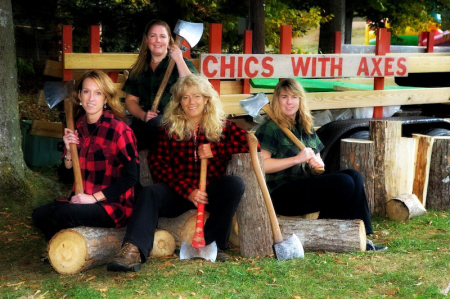 chics with axes